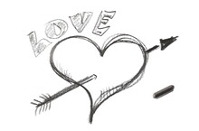 Graphite Stick With Romantic Arrow Through Heart Hatching With Word Love Isolated On White Background, Top View