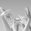 canvas print picture - Many hands, female hand white sculptures gestures. Mannequin hands reach up. 3d rendering concept