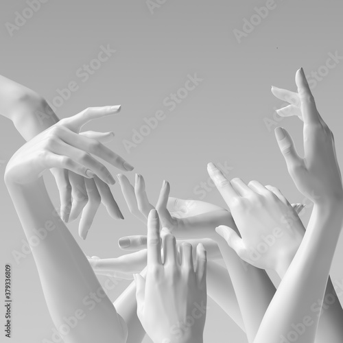 Many hands, female hand white sculptures gestures. Mannequin hands reach up. 3d rendering concept - 379336809