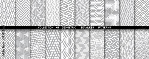 Fototapeta Geometric set of seamless gray and white patterns. Simple vector graphics. obraz