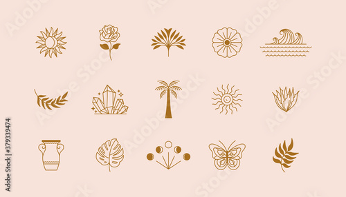 Fototapeta Vector set of linear icons and symbols - sun, plants, different objects - minima