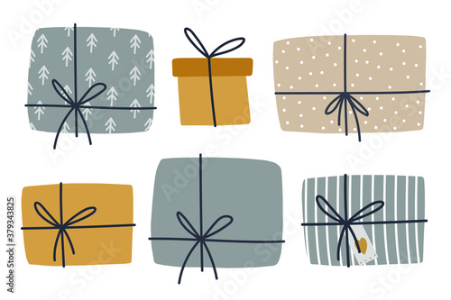 Fototapeta Christmas gift boxes clipart set. Cozy winter illustration for srickers, logo, cards, posters, wrapping, scrapbooking, patterns. Present stickers set in flat style. obraz
