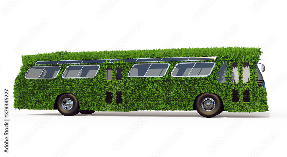Fototapeta Side View of the Bus is Overgrown with Green Grass. Eco-Friendly Urban Transport Concept. 3D Render Isolated on a White Background.