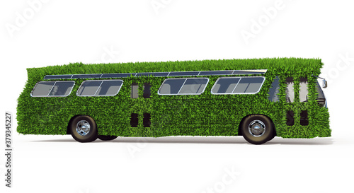 Obraz Side View of the Bus is Overgrown with Green Grass. Eco-Friendly Urban Transport Concept. 3D Render Isolated on a White Background. - fototapety do salonu