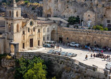 """Bond 25, Aston Martin DB5 Cars Prepared To Shoot Chase Scenes From The Movie """"No Time To Die"""" In Sassi, Matera, Italy."""