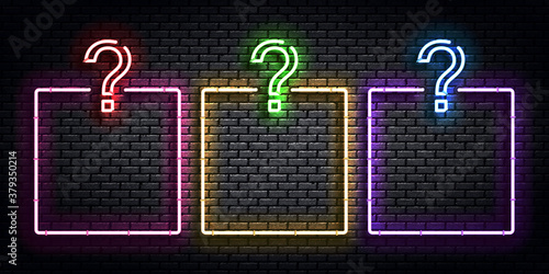 Vector realistic isolated neon sign of Quiz frames logo for template decoration and covering on the wall background. Concept of trivia night and question.