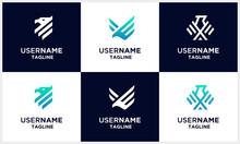 Set Of Falcon, Hawk, Eagle Strong Monogram Logo Design Template