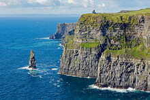 'Cliffs Of Moher' And 'An Brannan Mor' Sea Stack On The West Coast Of Ireland