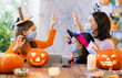 canvas print picture family celebrating Halloween