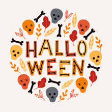 Halloween Card With Colorful Sculls, Bones, Leaves On Beige Background