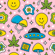 Psychedelic Seamless Pattern. Vector Cartoon