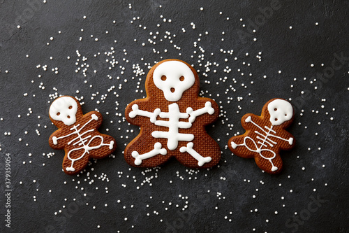 Funny Halloween gingerbread biscuits on black background Canvas
