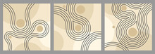 Abstract Backgrounds Set In Zen Garden Japanese Decoration - Circles Of Stones And Wavy Spirals