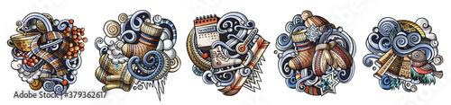 Winter cartoon vector doodle designs set.