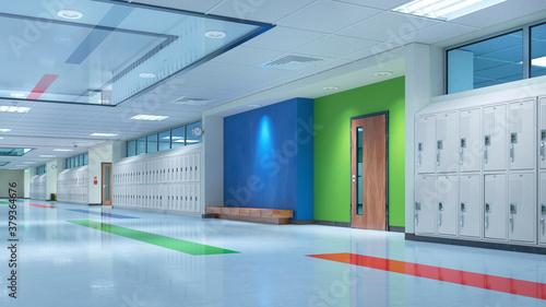 Obraz na plátně School corridor with lockers. 3d illustation