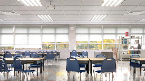 Obraz na plátně High school classroom interior. 3d illustration