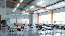 High School Classroom Interior...
