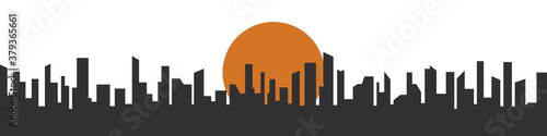 Fototapeta City silhouette with sunset. Megalopolis background. There are many skyscrapers in the big city. Vector illustration  obraz