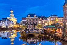 Evening View Of The Dutch Historic City Center With Water, Terraces And Restaurants In Leiden, The Netherlands