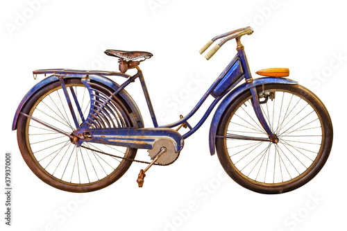 Fotografía Vintage rusted blue beach cruiser bicycle isolated on white