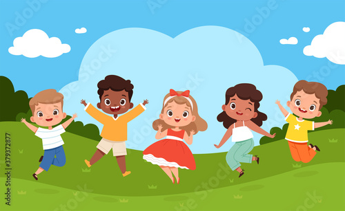 Jumping kids in playground. Sunny weather and playing happy group of children summer camping relax vector joyful holiday background. Summer kindergarten outdoor, playground park illustration