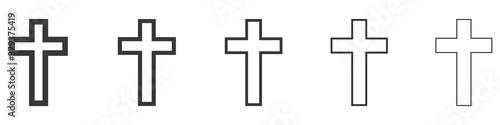 Fotografie, Tablou Christian crosses icons set isolated on white background