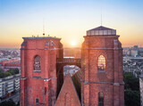 Mostek Pokutnic - a bridge between two towers of St. Mary Church. Famous viewpoint in Wroclaw, Poland