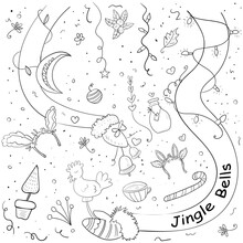 Christmas Motives For Coloring. Vector Illustration For Children. Coloring Page Or Book For Children And Adults.