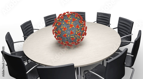Fototapeta Coronavirus und Konferenztisch obraz