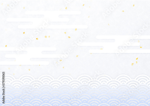 Fényképezés 金箔と青海波と霞雲 金箔を散りばめた背景 和風背景素材(青紫色)横