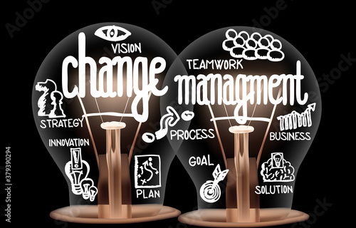 Photo Light Bulbs with Change Management Concept