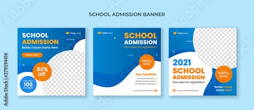 Fototapeta School admission social media post template. Junior and senior high school promotion banner obraz