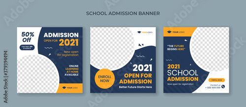 School admission square banner Fototapeta