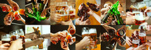 Collage Of Hands Of Young Frie...