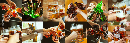Fototapeta Collage of hands of young friends, colleagues during beer drinking, having fun, clinking bottles, glasses together. Flyer design. Oktoberfest, friendship, togetherness, happiness, holidays concept obraz