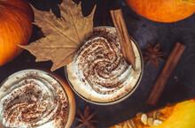 Pumpkin Latte Drink. Autumn Co...