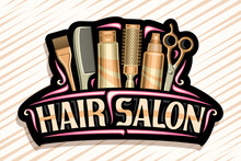 Vector Logo For Hair Salon, Dark Decorative Sign Board With Professional Beauty Accessories, Unique Letters For Brown Words Hair Salon, Elegant Signage For Beauty Parlor With Red Curly Flourishes.