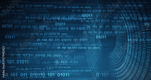 Fototapeta 2d illustration abstract digital binary data on computer screen obraz