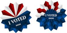 Vektor Banner Vote 2020, I Voted, Präsidentschaftswahlen, Pin Mit Weißen, Roten Und Blauen Elementen, Button Mit Schriftzug