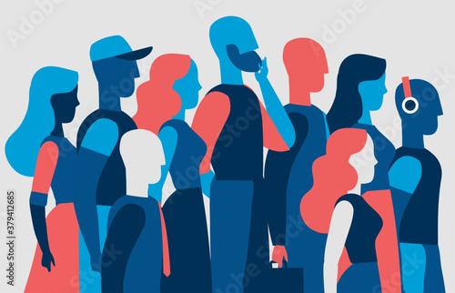 Fototapeta Una squadra di persone giovani che camminano insieme obraz