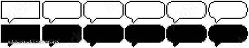Photo Collection de bulles de bande dessinée en pixel art (contour et fond)