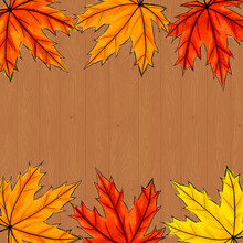 Copy Space Surrounded By Yellow, Orange And Red Maple Leaves. Frame Of Fall Autumn Foliage On Brown Wooden Background. Square Composition For Social Networks Or Invitation, Postcards. Digital Art