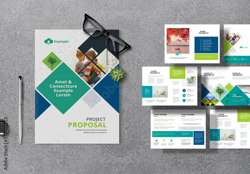 Company Project Proposal Layout with Blue Green Accents