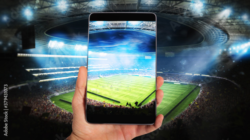 Fototapeta Watch a live sports event on your mobile obraz