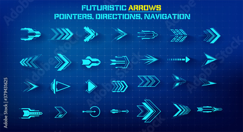 Fototapeta Set of futuristic arrows. Futuristic interface hud design elements. Arrows, pointers, direction. Set of holographic arrows, pointers, direction for infographics or game. Vector illustration obraz