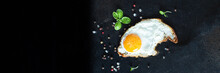 Fried Egg Yolk And White Fork For Food Omelette Fresh Dish And Ingredients On The Table Tasty Serving Size Portion Top View Copy Space For Text Food Background Rustic