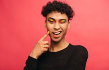 Gay Man With Rainbow Eyeshadow...