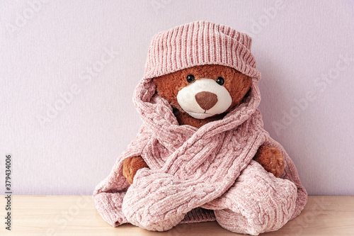 Plush stuffed toy in knitted hat and sweater Canvas Print