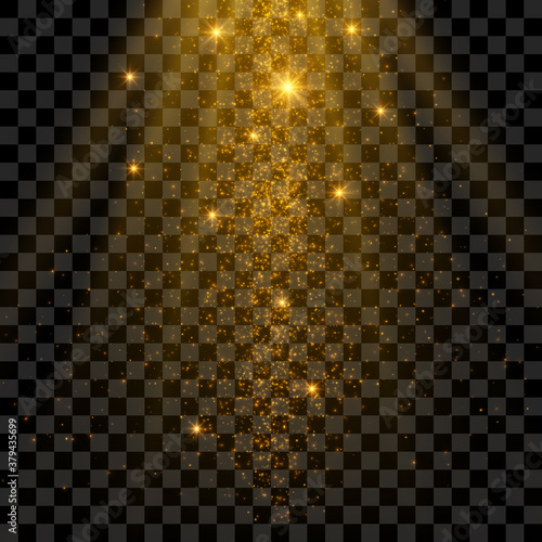 Sparklng golden magical light effect, shiny particles isolated on transparent background.