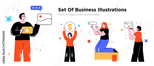 Obraz Business Concept illustrations. Collection of scenes with men and women taking part in business activities. Trendy vector style. - fototapety do salonu